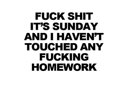 I do my homework on sunday
